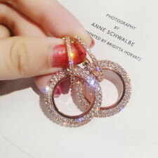 Shiny Rose Gold Rhinestone Crystal Statement Round Drop Earrings Women Jewelry