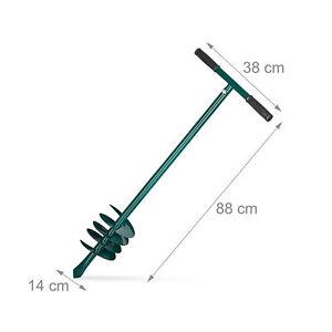 Hand Erdbohrer Eisen Bodenbohrer 140mm Erdlochbohrer Pfahlbohrer Lochbohrer grün