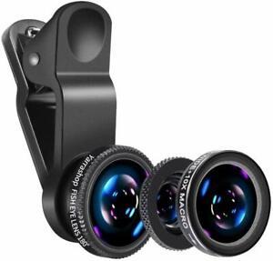 Professional Universal Mobile Phone Camera Lens Kit Set Clip Macro Wide Fish eye