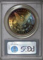 1885 $1 Morgan PCGS MS63 Gorgeous Rainbow Gradient Toning, Scarce Old Holder