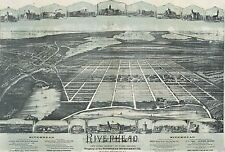 1890 BIRD'S EYE VIEW OF RIVERHEAD, SUFFOLK COUNTY LONG ISLAND NY COPY POSTER MAP