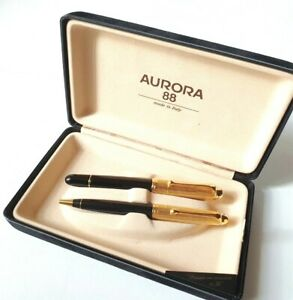 BEAUTIFUL SET AURORA 88 BIG SIZE FOUNTAIN + BALLPOINT PEN 14KT.GOLD NIB MINT !