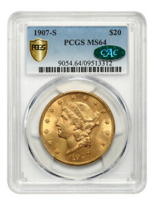 1907-S $20 PCGS/CAC MS64 - Final Year of Issue - Final Year of Issue