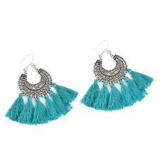 Bohemian Vintage Long Tassel Fringe Boho Dangle Hook Drop Earrings Women Jewelry Green