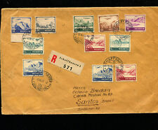 Switzerland 1947 Airmail Registered to Brazil with 5FR hi-value X2