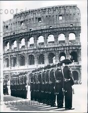1960 Carabinieri Lined Up Outside Colosseum Rome Press Photo