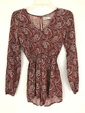 Abercrombie Fitch Womens Romper Jumpsuit XS Rust Red Long Sleeve Paisley V Neck