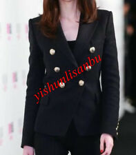 Womens Black Occident High Quality Jacket Metal Head Buckle Double Breasted Coat