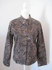 CHICOS Womens Sz 1 Brown Black Floral Blazer Jacket Work Career Business