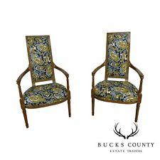 Louis Xvi Style Mid Century Custom Pair High Back Armchairs