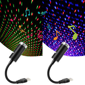 2 Colour Sound Activated LED USB Starry Sky Projector Light Car Galaxy Star Lamp