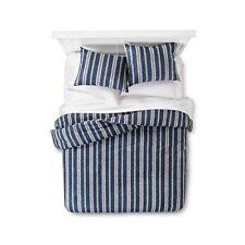 The Industrial Shop Edison Stripe Comforter &1 Shamc Set - Twin - Navy Cream