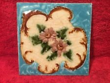 Antique Majolica English Tile With Flowers, em164  COOL ANTIQUE GIFT IDEA!!