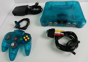 Original Nintendo N64 - Clear Blue - Transparent Blau + Controller + AV Kabel !