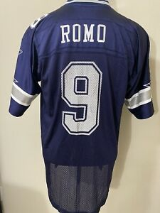 Reebok Tony Romo Dallas Cowboys Football Jersey Adult Large Blue White On Field