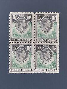 block of 4x 1938 Northern Rhodesia KGVI Stamp 10'- SG44 Ten Shillings. GOOD USED