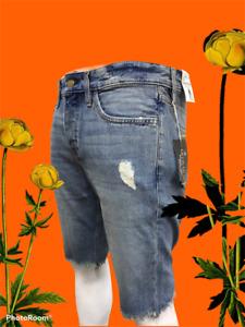 Mens Ribbed Denim Shorts Slim Fit Regular Summer Casual Half Jeans Pants Size