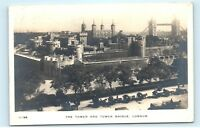 *1914 The Tower and Tower Bridge London UK RPPC Vintage Real Photo Postcard C60
