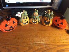 Lot of 3 Ceramic Votive Tea Light HALLOWEEN Candle Holders + 2 Pumpkin Deco
