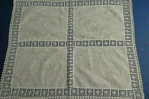 Vintage Cotton Tray Cloth Table Centre Embroidered Flowers Crochet Inlay, Border