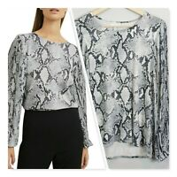 [ WITCHERY ] Womens Snake Print Pleated Sleeves Top | Size XS or AU 8 / US 4