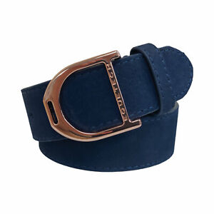 Equetech Stirrup Equestrian Riding Leather Belt - Navy / Rose Gold - 4 Sizes NEW
