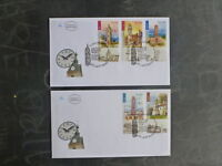 2004 ISRAELOTTOMAN CLOCK TOWERS SET 5 STAMPS ON 2 FIRST DAY COVERS