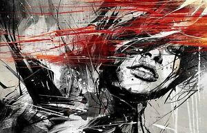 Home Art Wall Decoration Abstract Red Hair Girl Oil painting  Printed on canvas