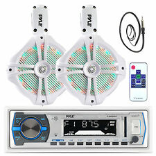 "Marine 8"" Tower LED Speakers, Antenna, Pyle Bluetooth USB AUX AM FM Marine Radio"