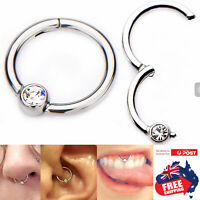 316L Hinged 16g Segment Clicker Ring With CZ Ball Lip Ear Nose Body Piercing 1pc