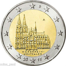 Germany 2 Euro, 2011 Westphalia, Cologne Cathedral , KM#  293 A D F G J UNC