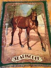 Seabiscuit Thoroughbred Race Horse art Cotton Woven Afghan Throw Blanket NEW