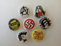 7 x PUNK symbol buttons (badges,pins,punks not dead,anarchy,punkpatch. tshirt)