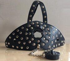 Black Faux Leather Studs Head Hood & Plug Ball Gag Dungeon Bondage Fetish Kit