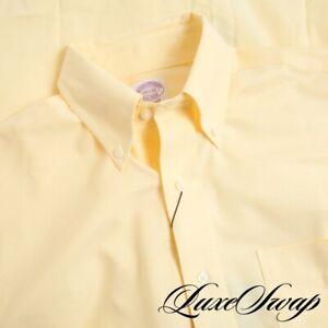 NWT Brooks Brothers Classic Lemon Yellow Oxford Cloth OCBD ButtonDown Shirt 14.5
