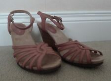 FAB M&S Footglove Pink Leather Strappy Wedge Sandals UK 5 VGC Worn Once
