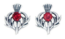 Sterling Silver Thistle Stud Earrings with a July Birthstone Centre