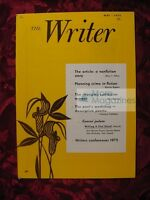 THE WRITER May 1975 Mary T. Dillon Marion Rippon Jean Jackson First Novels