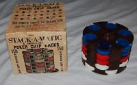 Vintage Stack A Matic Poker Chip Rack Red White Blue Chips Spinning Box 5 Racks