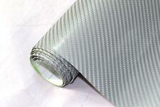 9€/m² 4D Carbon Folie - SILBER 100 x 152 cm flexibel Auto Klebe Folie Wrapping
