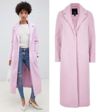 River Island NEW Longline Textured Boucle Coat Winter Jacket in Pink