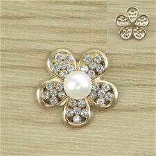 Pearl Crystal Rhinestone Buttons Flower Flatback Craft Embellishment Accessories Hollow Five Flowers 5pcs
