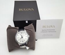 Men's Bulova Stainless Steel Watch w/ Black Leather Strap - New w/ Box and Tags!