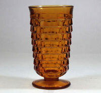 "Indiana Glass Whitehall Cubist Amber Iced Tea 16oz Water Goblet 6"" Tall"