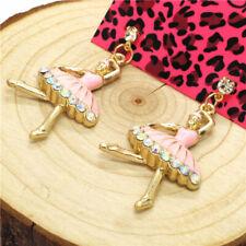 Hot Betsey Johnson Lovely Pink Enamel Ballet Girl Crystal Women Stand Earrings