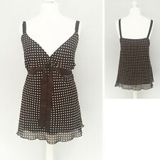 Evans Strappy Cami Top 30 Polka Dot Brown Rockabilly Party Boho Vest Summer