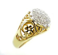 14KT GOLD CHARMING! LADIES SOLID FILIGREE STYLE RING WITH DIAMONDS  17256R
