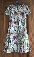 Miss Selfridge Petite New White Cream Pink Floral Skater Style Dress Size 4 - 12