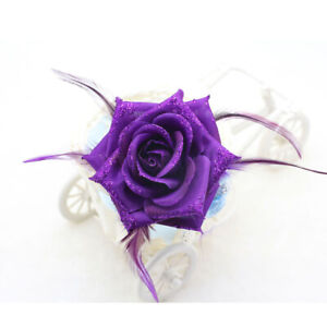 17 Colors Corsage Hair Clip Rose Feather Fascinator Hairpin Party Wedding Races