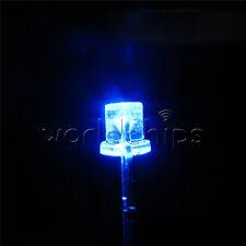 100pcs 5mm 2pin Flat Top Blue Led 360 Wide Angle Flat Head Light Lamp